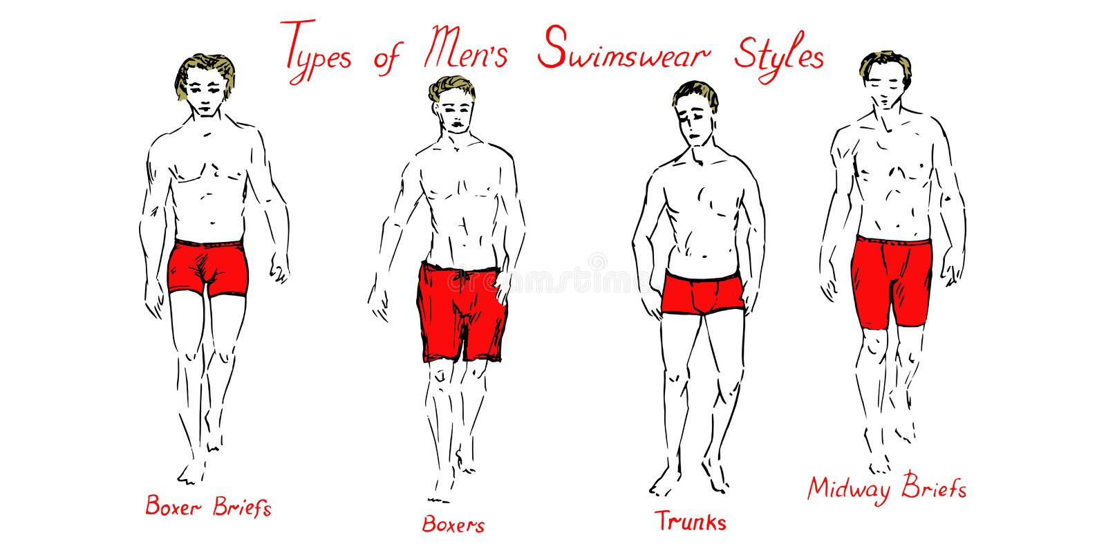 Portrait of sexy blonde guys in red boxer briefs, boxers, trunks and midway briefs shorts collection with inscription stock illustration