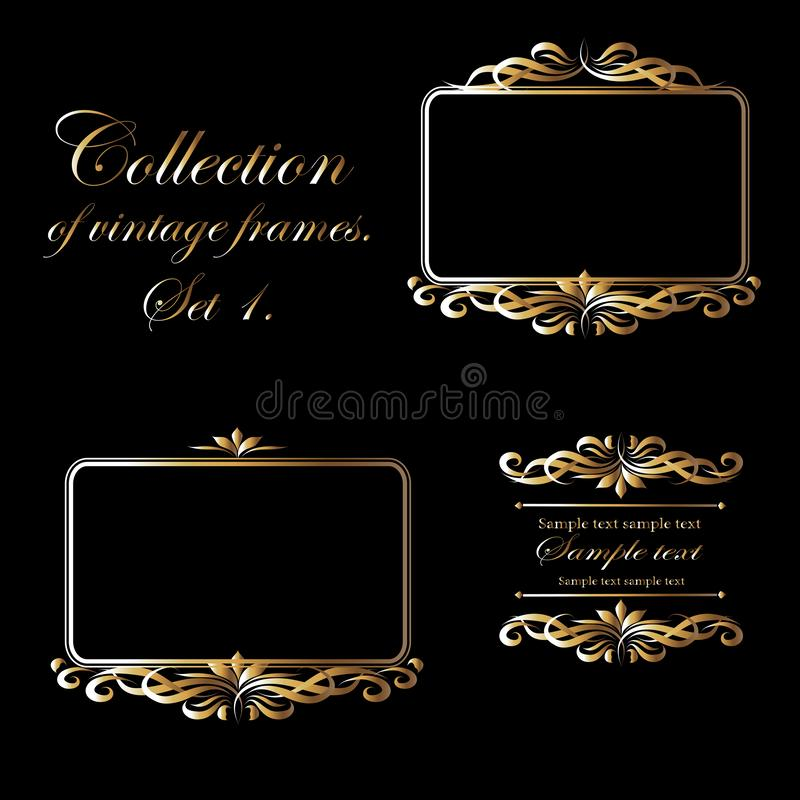Vector image of a frame with gold elements on a black background. royalty free illustration
