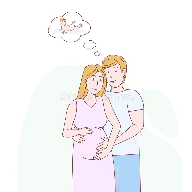 Pregnant woman and her husband stock illustration