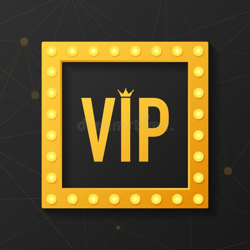 Golden symbol of exclusivity, the label VIP with glitter. Very important person - VIP icon on dark background. Golden symbol of exclusivity, the label VIP with stock illustration
