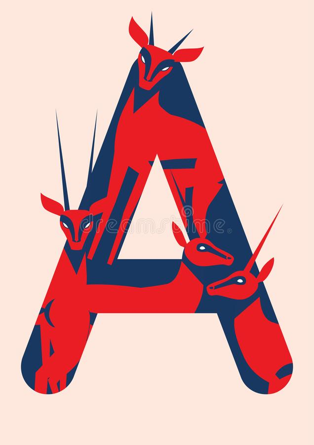 Vector animal alphabet. Vector letters with animals. First letter of alphabet royalty free illustration