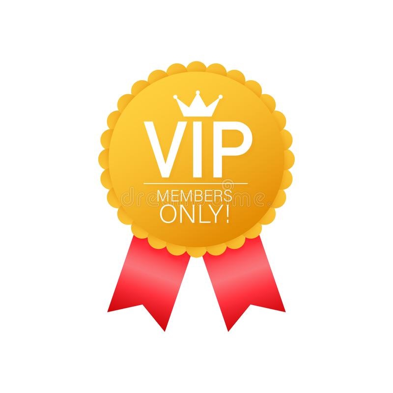 VIP, Members Only Gold ribbon, label. Gold and luxury, membership icon, exclusive and priority. Vector illustration. vector illustration