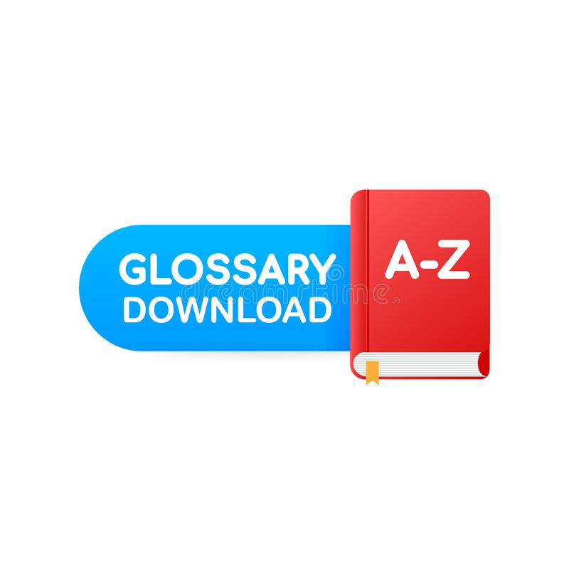 Download book button. Concept Glossary book for web page, banner, social media. Vector illustration stock illustration