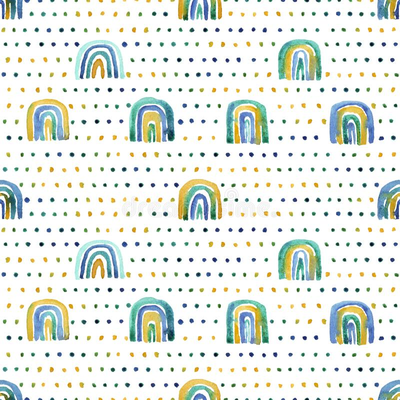 Seamless pattern of hand made watercolor rainbows royalty free stock photography
