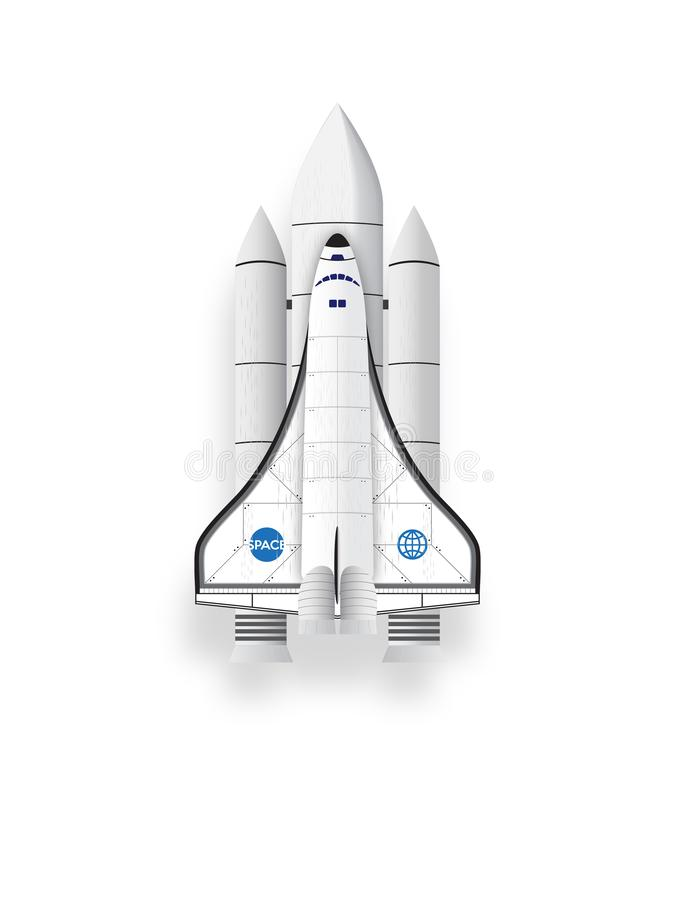 Space shuttle isolated objects on white background. royalty free illustration