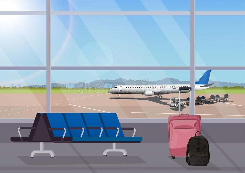 Airport waiting room or departure lounge with chairs. Terminal hall airfield view on airplanes. Vector illustration royalty free illustration