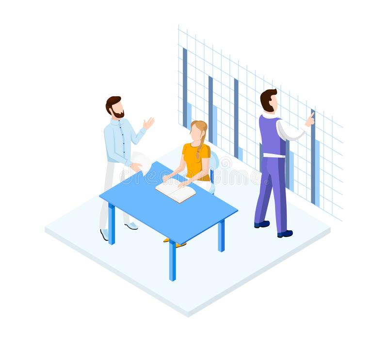 Isometric office team royalty free illustration