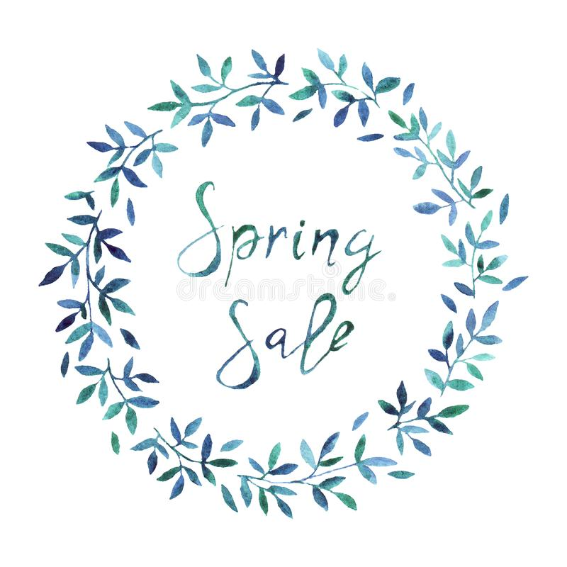 Spring sale banner, poster template with spring flowers. stock photography
