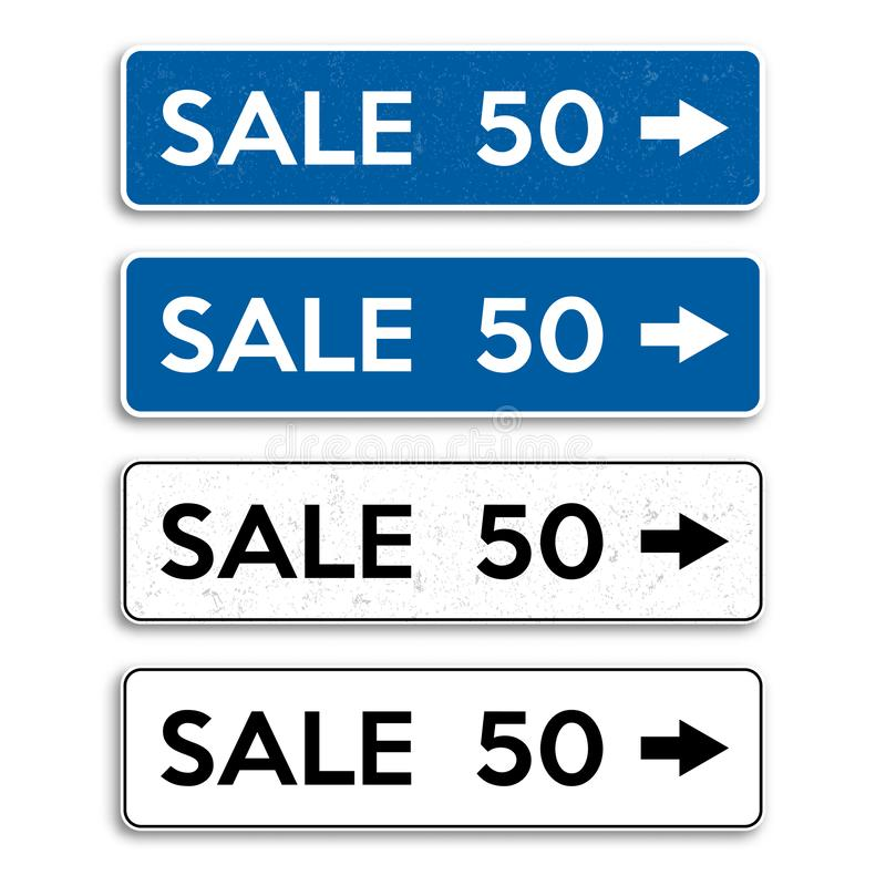 Set of plates. In the form of road sign with discounts. Vector illustration stock illustration