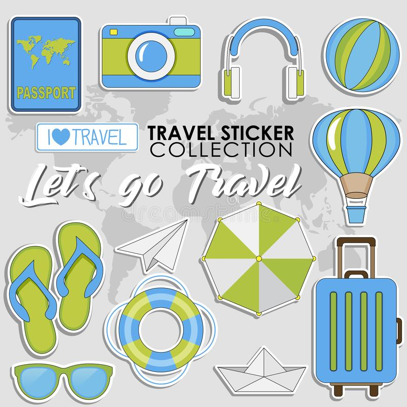 Let`s go Travel. Summer Travel sticker collection, Vector isolated illustration on light grey background royalty free illustration