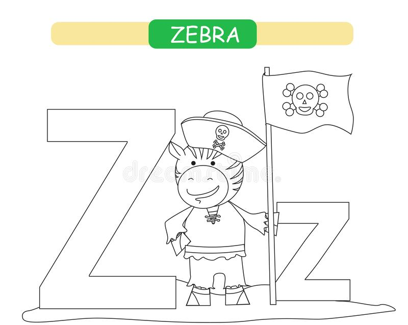 Letter Z and funny cartoon zebra. Coloring page. Animals alphabet a-z. Cute zoo alphabet in vector for kids learning English vocab stock illustration