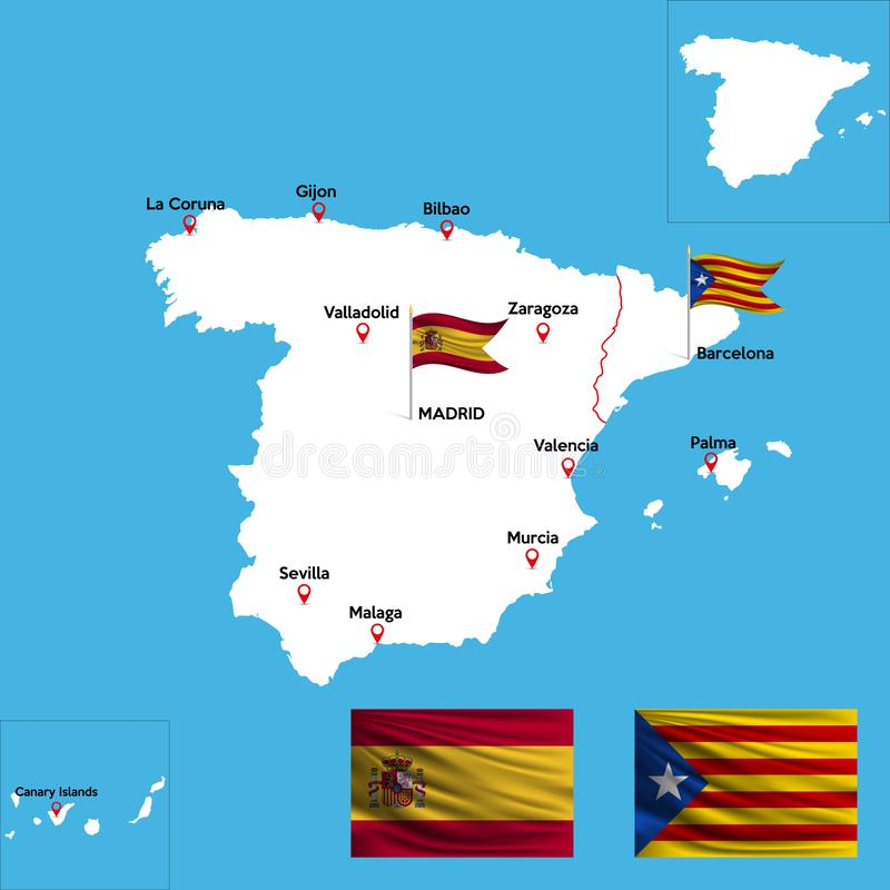 A detailed map of Spain stock illustration