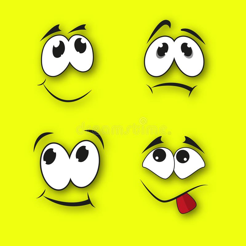 Set of funny smiles. On a yellow background with a realistic shadow. Comic facial expression vector illustration