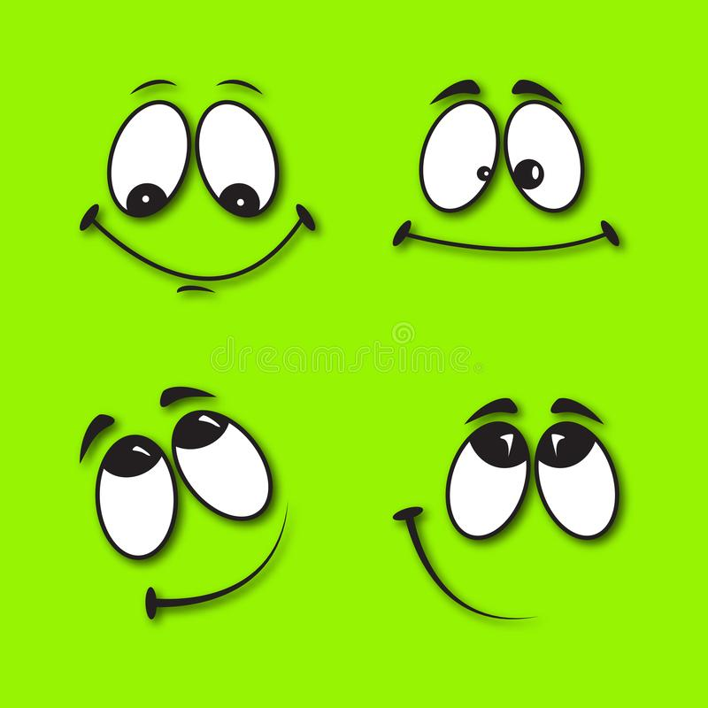 Set of funny smiles. On a green background with a realistic shadow. Comic facial expression stock illustration