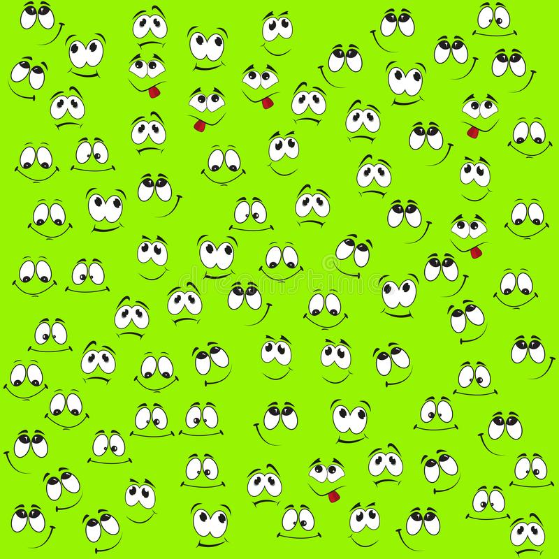 Pattern of funny smiles. On a green background. Comic facial expression royalty free illustration