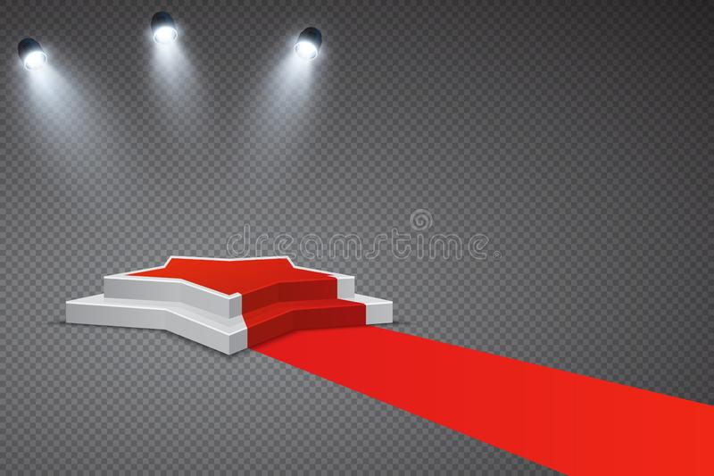 Star shaped podium with red carpet and spotlights royalty free stock photo
