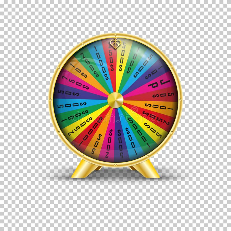 Wheel of fortune. Realistic vector illustration of a wheel of fortune on a transparent background vector illustration