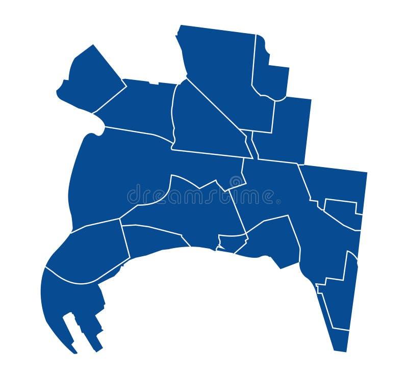 Outline map of Melbourne districts. Outline blue map of Melbourne districts, on white background stock illustration