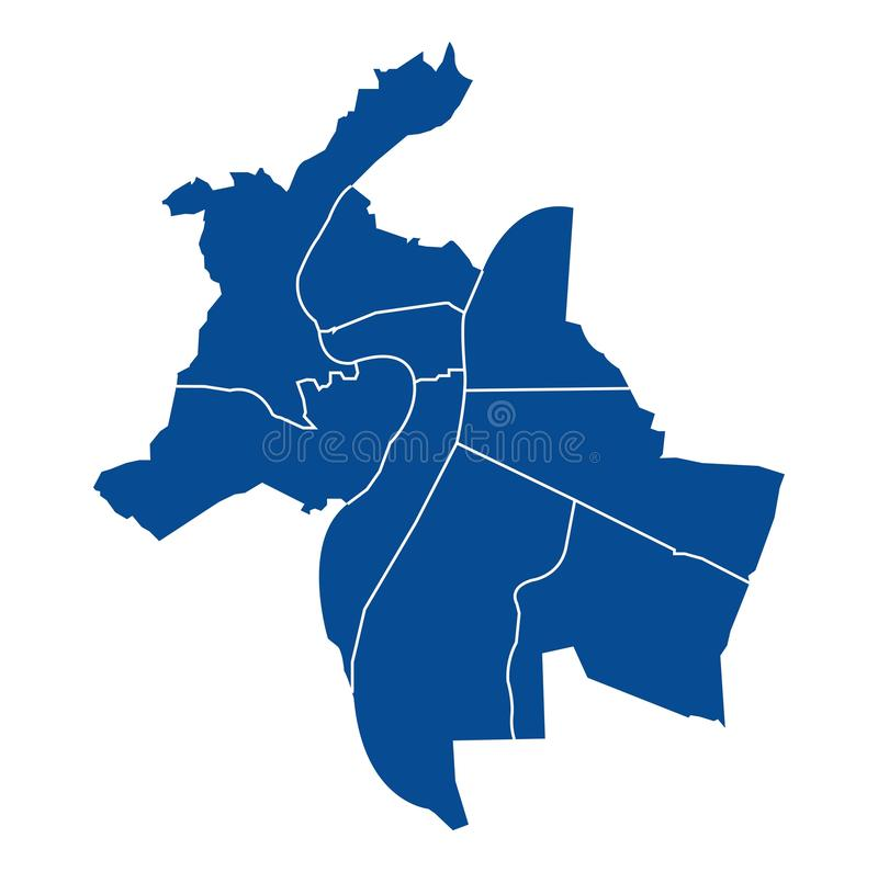 Outline map of Lyon districts. Outline blue map of Lyon districts, on white background vector illustration