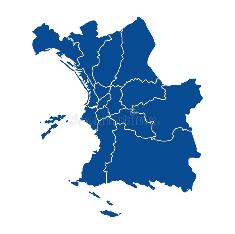 Outline map of Marseille districts. Outline blue map of Marseille districts, on white background royalty free illustration