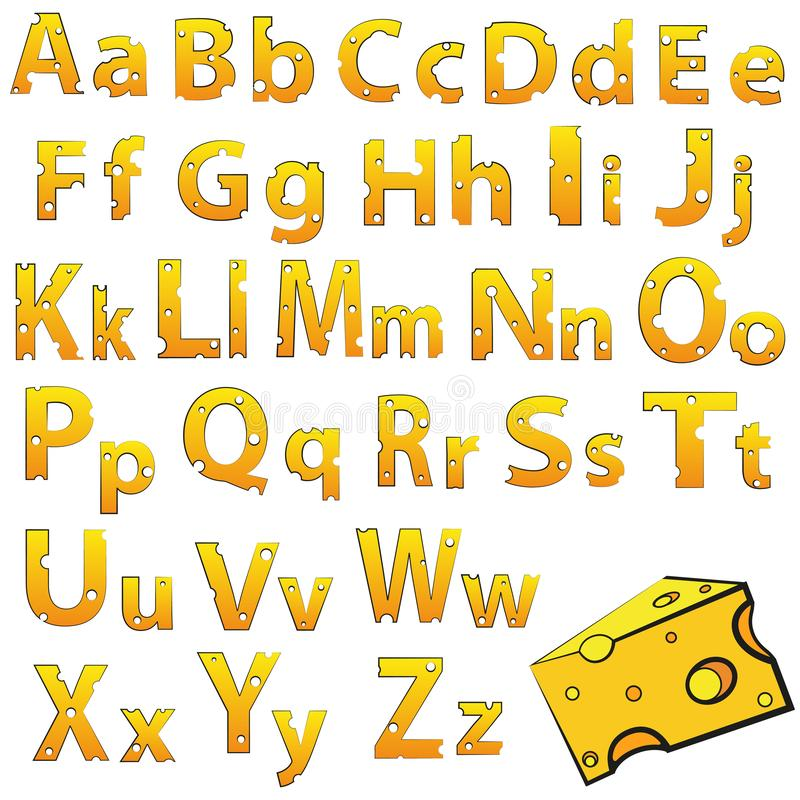 Swiss vector Alphabet made of Cheese. Vector Icons isolated on white vector illustration