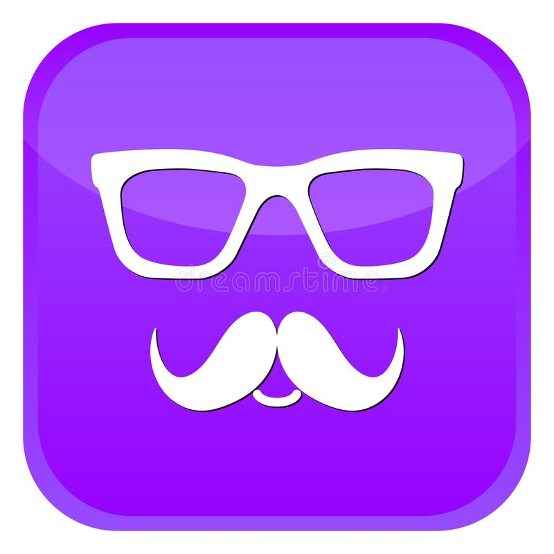 Nerd glasses and mustaches icons. Purple web button on white background. Vector isolated Illustration vector illustration
