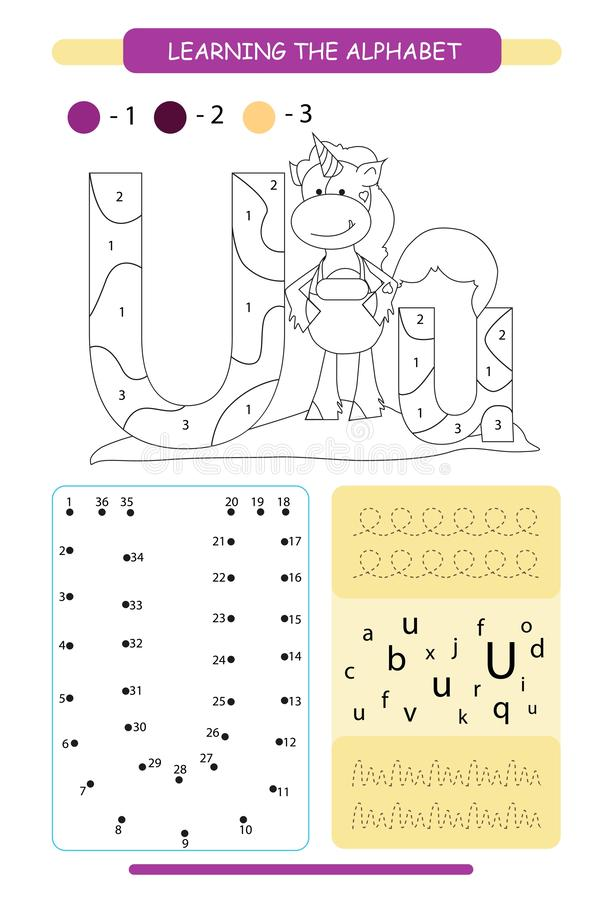 Letter U and funny cartoon unicorn. Animals alphabet a-z. Coloring page. Printable worksheet. Handwriting practice. Connect the do stock illustration