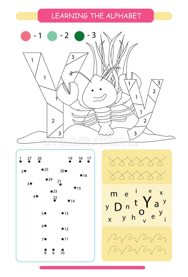 Letter Y and funny cartoon yabby. Animals alphabet a-z. Coloring page. Printable worksheet. Handwriting practice. Connect the dots. Letter Y and funny cartoon royalty free illustration