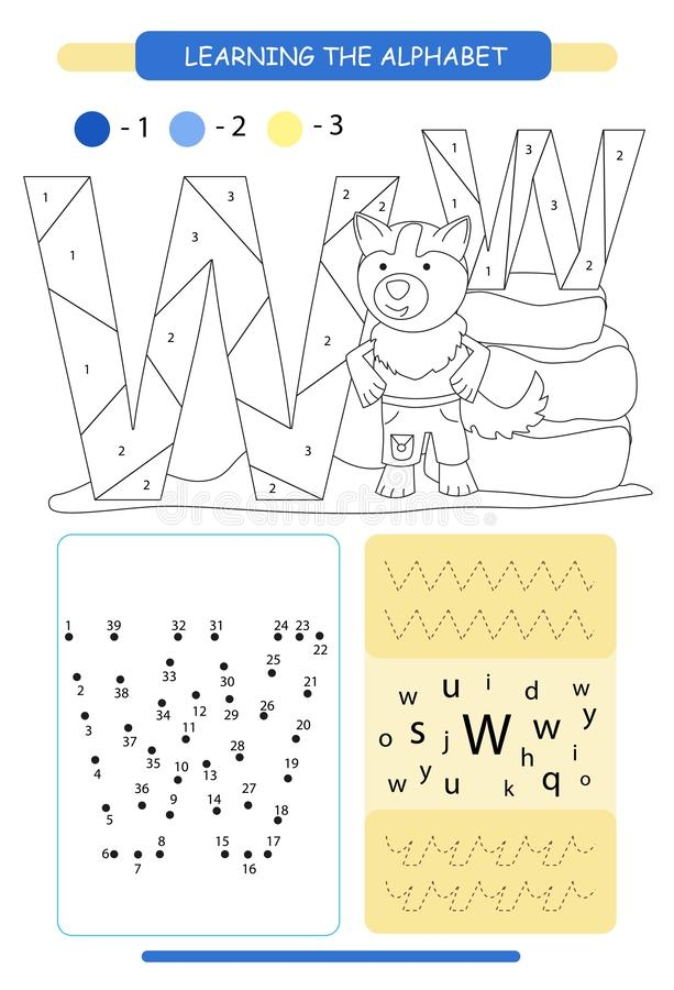 Letter W and funny cartoon wolf. Animals alphabet a-z. Coloring page. Printable worksheet. Handwriting practice. Connect the dots. stock illustration