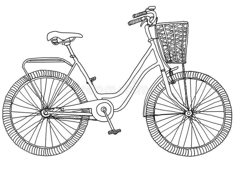 Hand drawn sketch illustration of bicycle. Vector illustration royalty free illustration