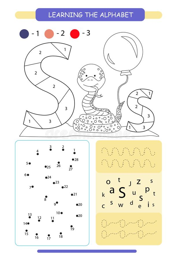 Letter S and funny cartoon snake. Animals alphabet a-z. Coloring page. Printable worksheet. Handwriting practice. Connect the dots royalty free illustration