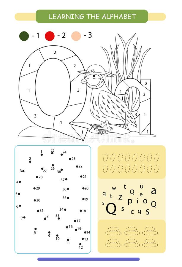 Letter Q and funny cartoon quail. Animals alphabet a-z. Coloring page. Printable worksheet. Handwriting practice. Connect the dots. Letter Q and funny cartoon stock illustration