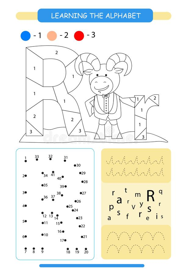 Letter R and funny cartoon ram. Animals alphabet a-z. Coloring page. Printable worksheet. Handwriting practice. Connect the dots. Letter R and funny cartoon ram vector illustration