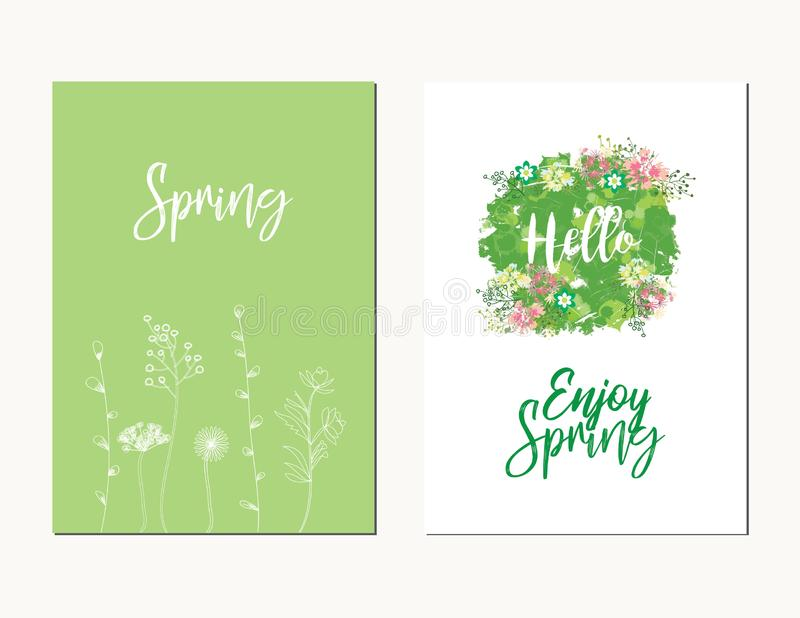 Colorful vector set of floral compositions with slogan. Beautiful wreath with floral, can be used as creating card,. Invitation card for wedding, birthday and royalty free illustration