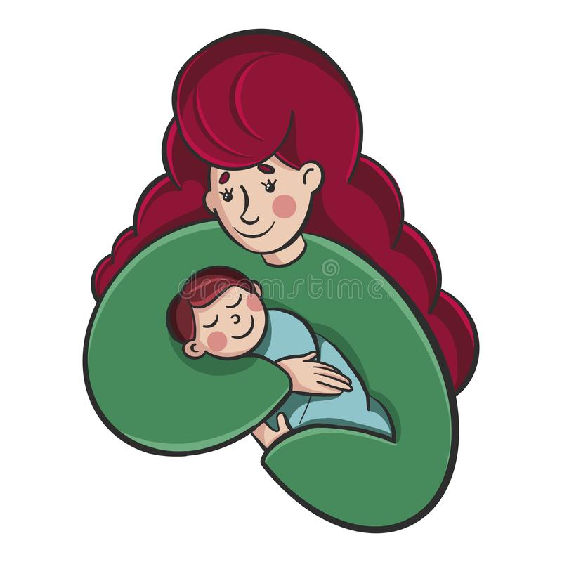 Young beautiful woman holding a baby in her arms. mother Holds son or Daughter vector illustration