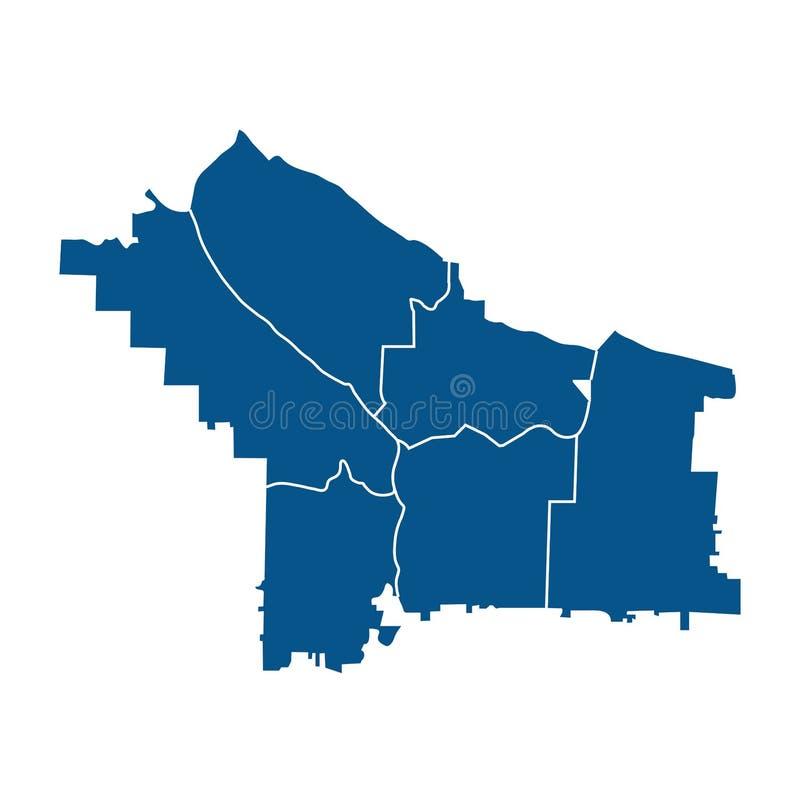 Outline map of Portland districts. Outline blue map of Portlend districts, on white background vector illustration