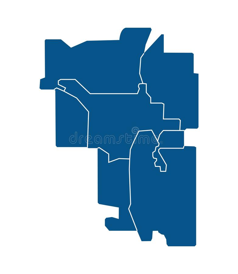 Outline map of Calgary districts. Outline blue map of Calgary districts, on white background vector illustration