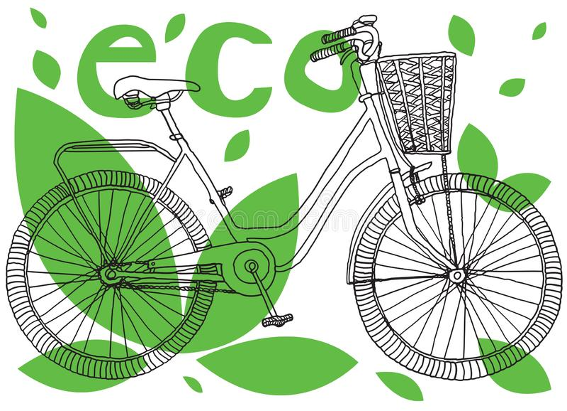 Bike is eco transport. stock illustration