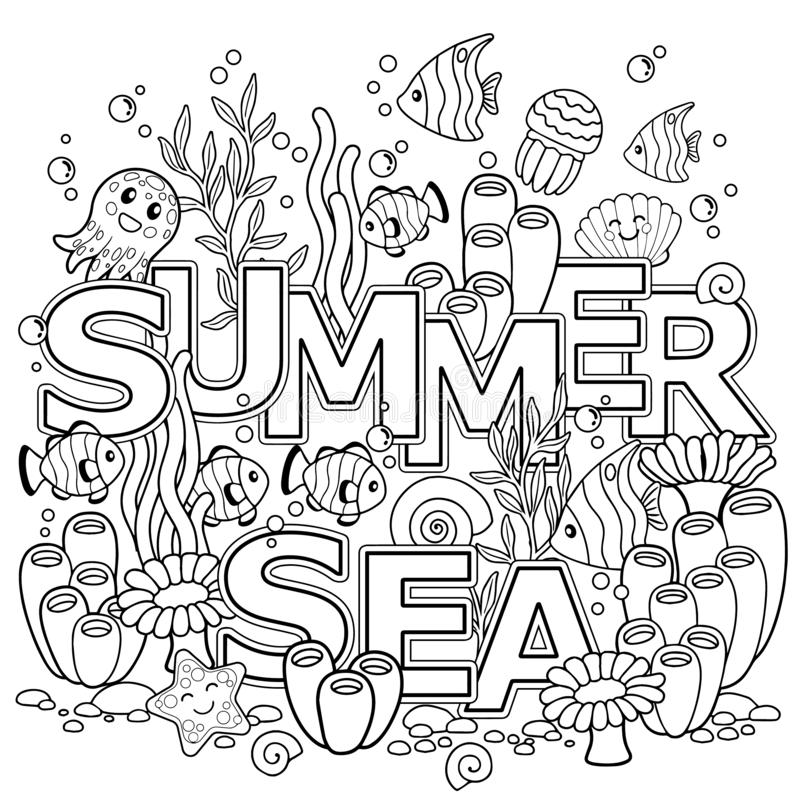 Hand drawn coloring book for adult. Summer holidays, party and rest. Coloring book for adults for meditation and relax. Summer sea. Coloring book for adult stock illustration
