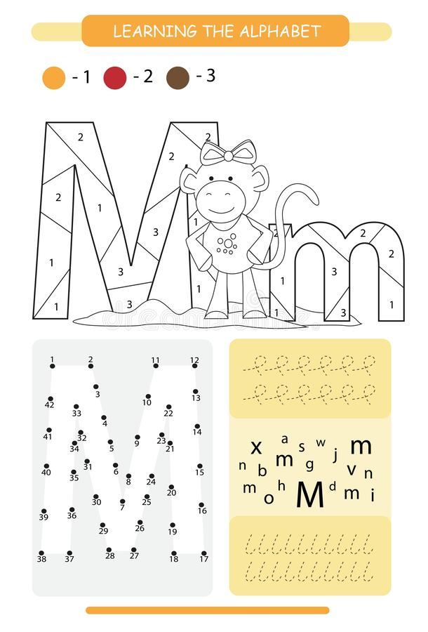 Letter M and funny cartoon monkey. Animals alphabet a-z. Coloring page. Printable worksheet. Handwriting practice. Connect the dot. Letter M and funny cartoon vector illustration