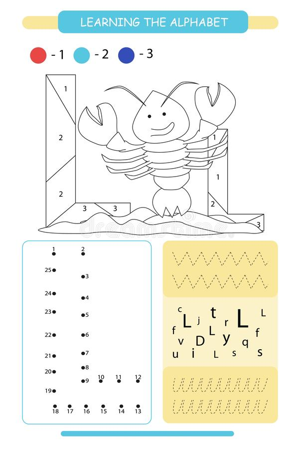 Letter L and funny cartoon lobster. Animals alphabet a-z. Coloring page. Printable worksheet. Handwriting practice. Connect the do. Letter L and funny cartoon vector illustration