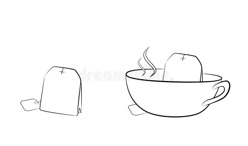 Tea bag brewed in a cup. vector illustration.  stock illustration