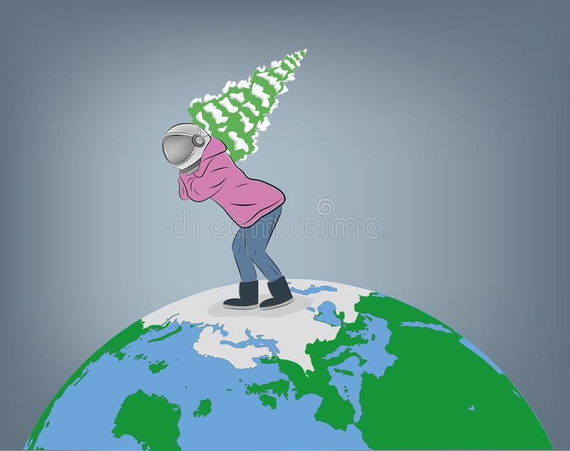 A man in a spacesuit carries a Christmas tree across planet Earth. vector illustration. vector illustration