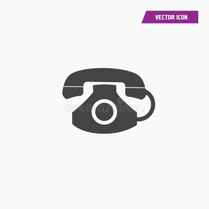 Black Old Vintage Retro Home Telephone Icon royalty free illustration