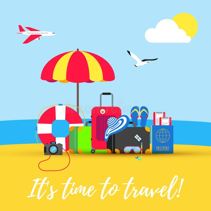 Time to travel summer beach holiday vacation poster or banner flat style design vector illustration concept isolated sea backgroun vector illustration