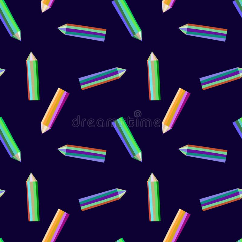 Seamless vector pattern with color crayons for drawing stock illustration
