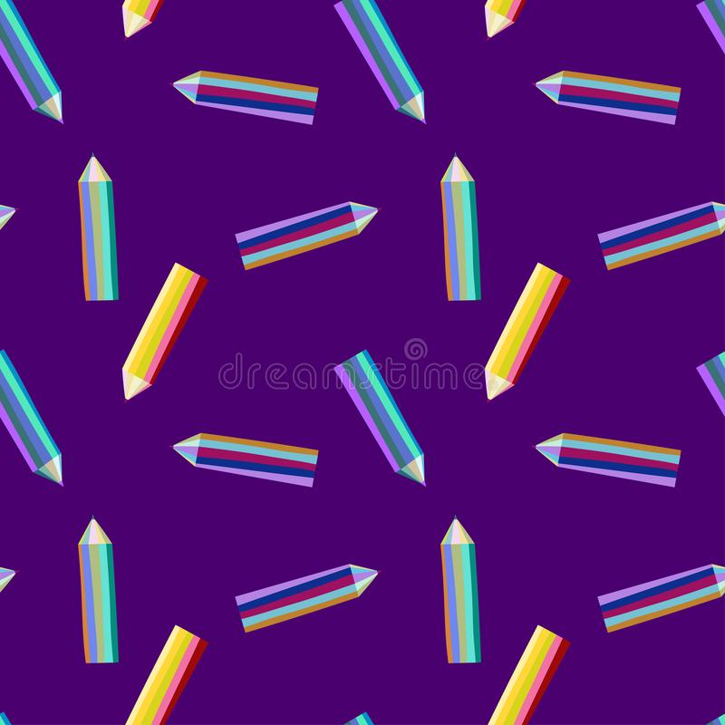 Pattern with bright color pencils stock illustration