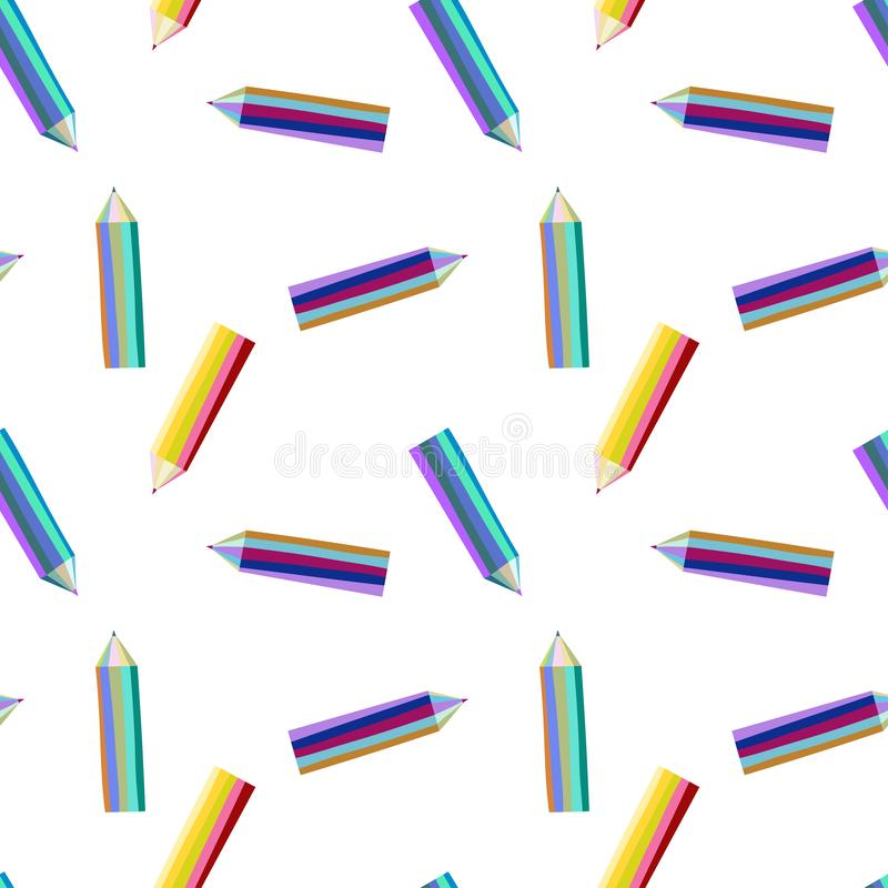 Pattern with bright color pencils vector illustration