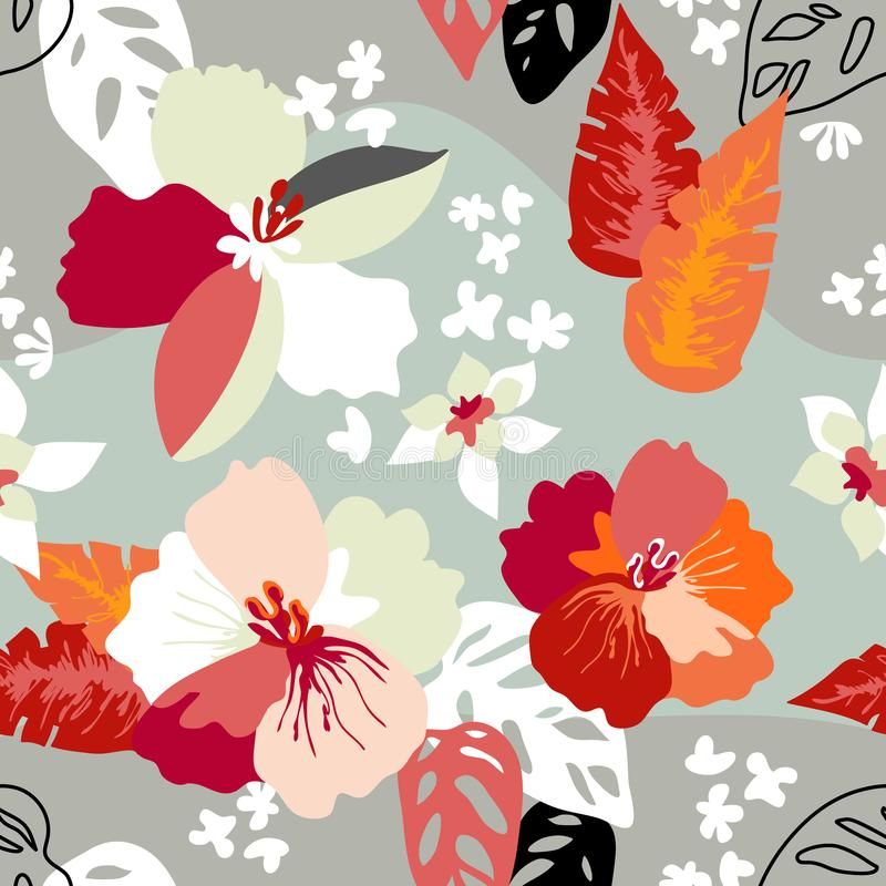 Abstract floral print with Japanese motifs. stock illustration