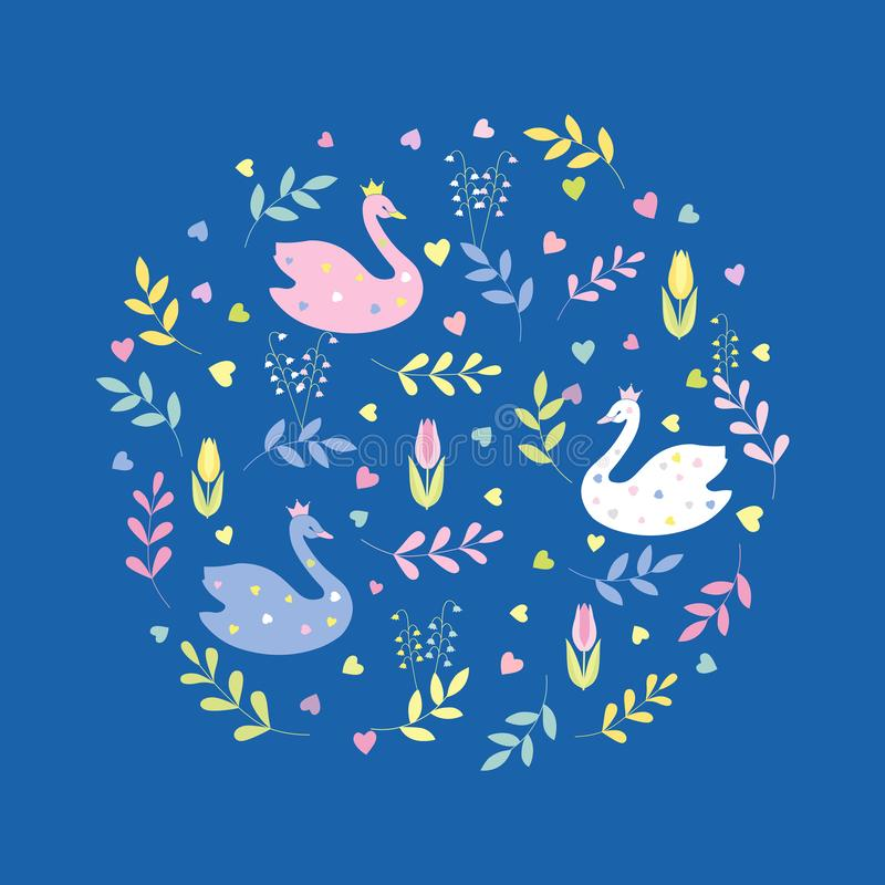 Cute cartoon swans, flowers, leaves, hearts. Decorative composition in a circle.. Vector isolated royalty free illustration